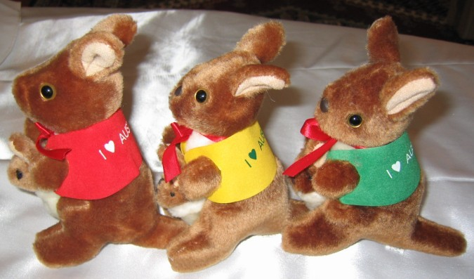 Cute 4 and 5 inch small kangaroo toys in corporate jackets with your logo