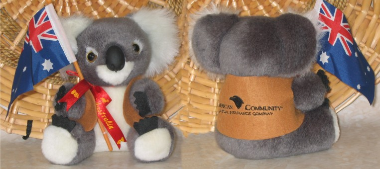 Cute 6 inch koala toy with flag in corporate jackets with your logo embroidery