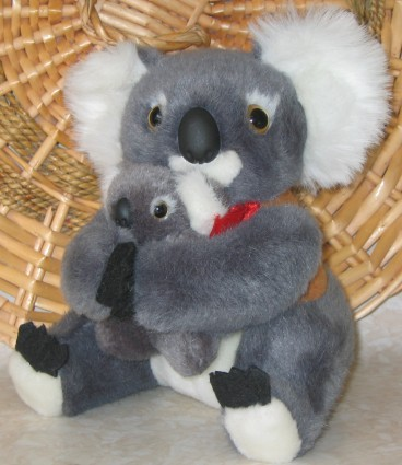 7 inch koala toy with baby in hands, corporate jackets with your logo embroidery