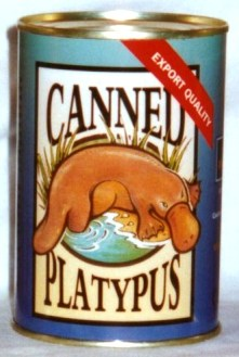 Canned platypus. Platypus toy in can