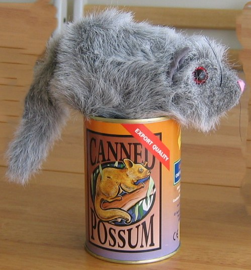 Canned possum | Possum toy in a can