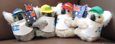 Corporate clip-on koalas with flags and caps