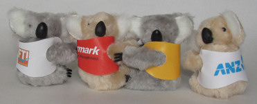 Corporate clip-on koala toys in custom printed jackets