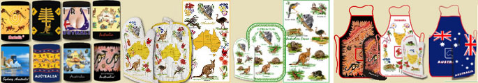 Australian themed party decoration items - tea towels, table cloth, aprons, stubby holders