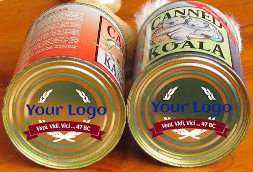 custom printed, promotional canned koala and canned kangaroo