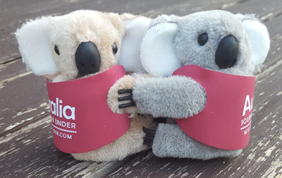 Clip-on koala toys 2 inch. In custom printed juckets. Promotional gift
