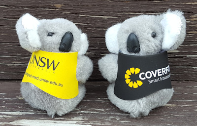 Clip-on koala toys in colored jackets